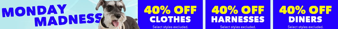 40% Off Clothes, Harnesses, & Diners