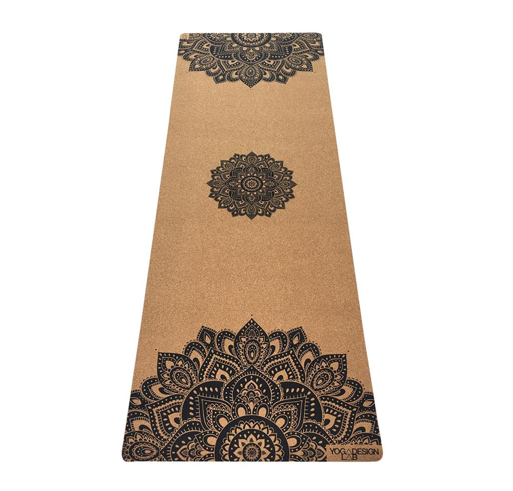 1.5mm Cork Travel Yoga Mat - Mandala Black