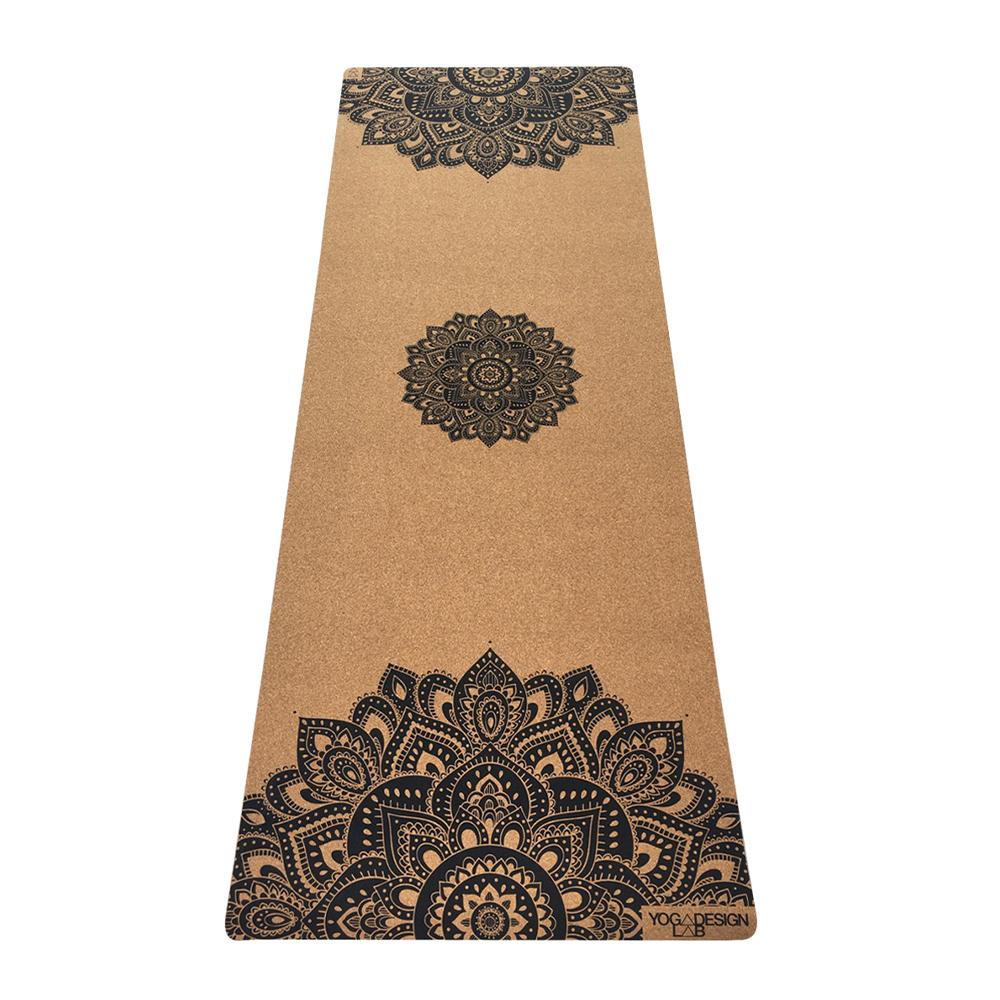 1.5mm Travel Cork Yoga Mat- Mandala Black