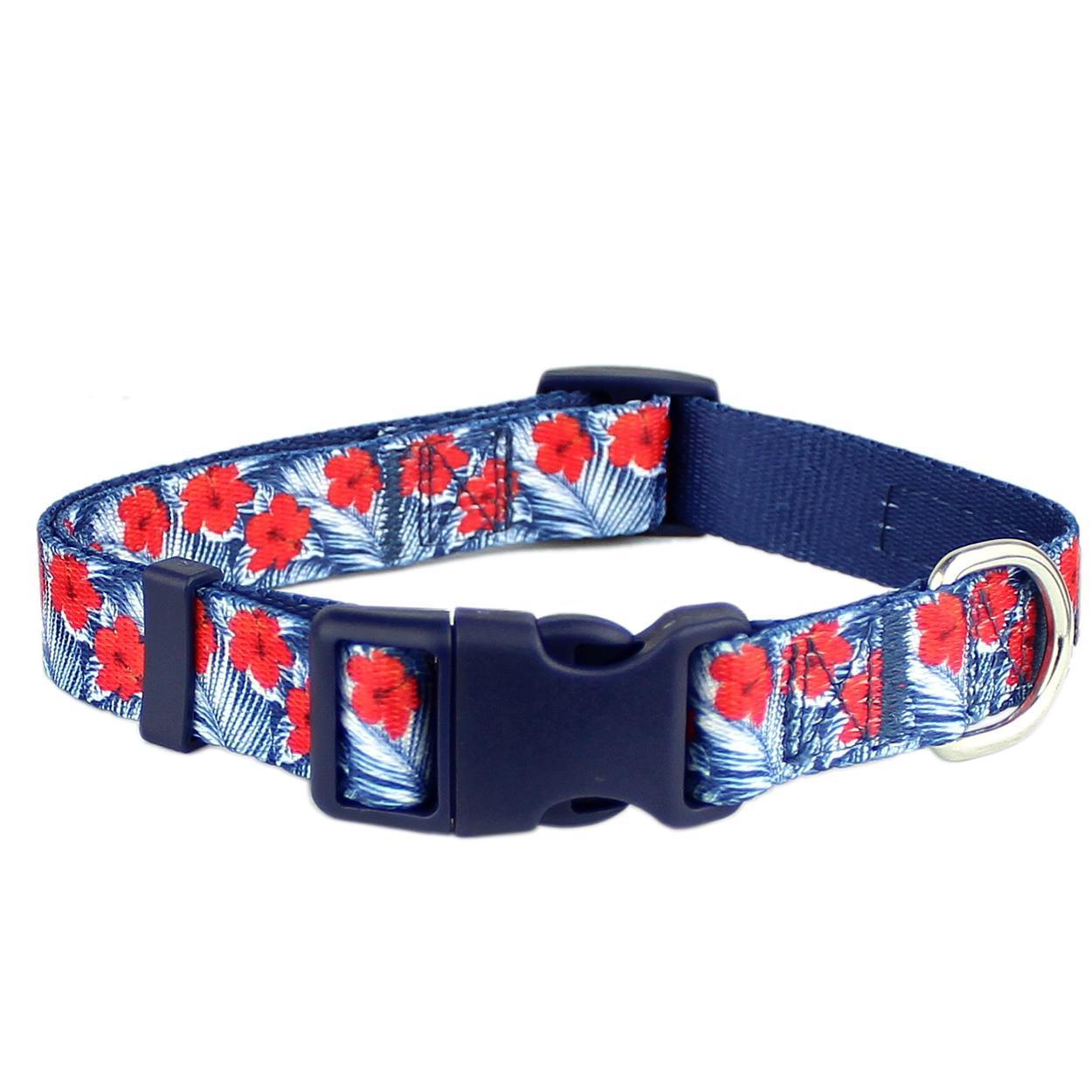 Hibiscus Blue Dog Collar by Parisian Pet