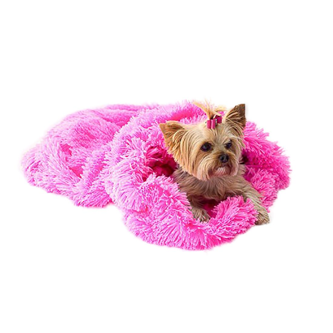 3-in-1 Cozy Dog Cuddle Sack - Hot Pink Powder Puff