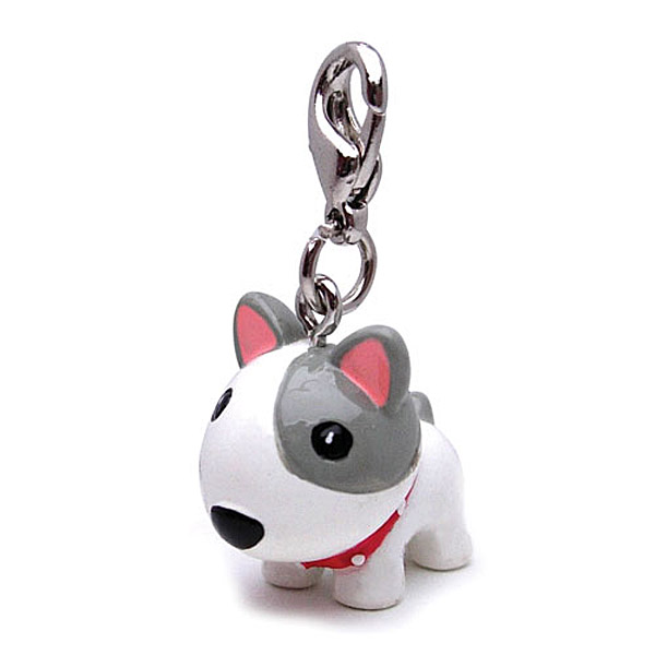 3-D White Dog with Spikes Dog Collar Charm by Klippo