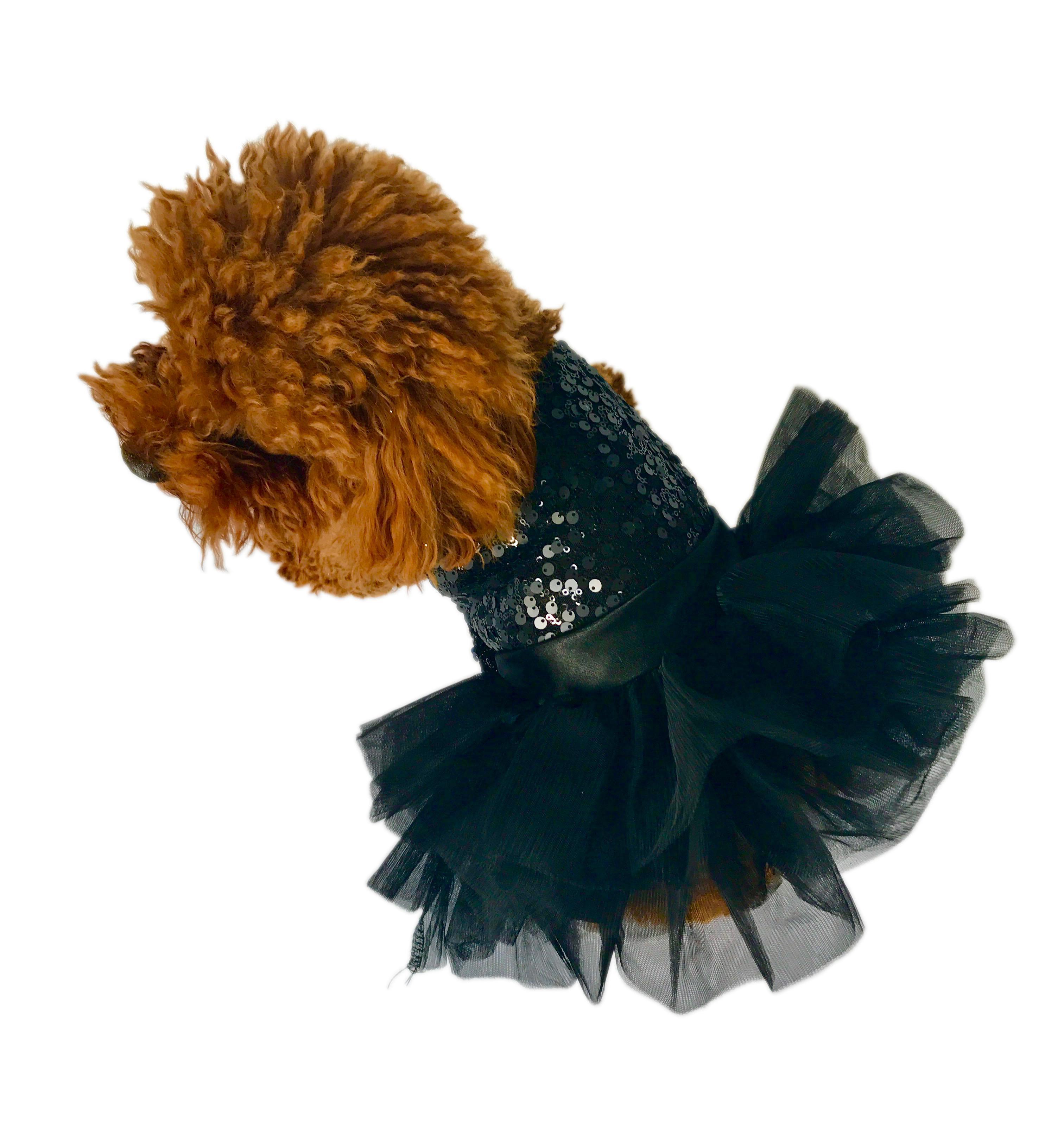 Marilyn Sequin Fufu Tutu Dog Dress - Black
