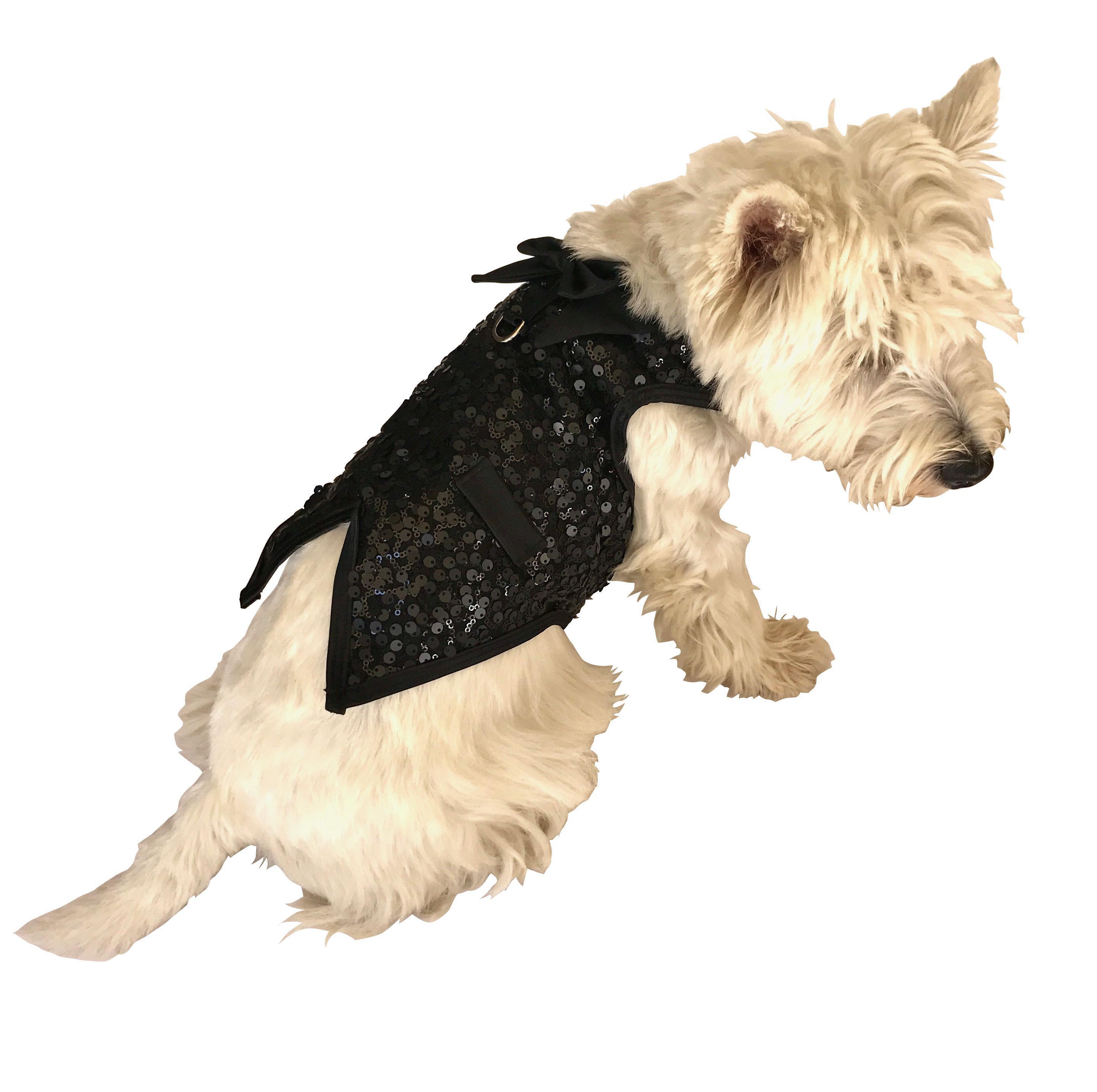 Gentlemen's Sequin Dog Tuxedo Vest - Black