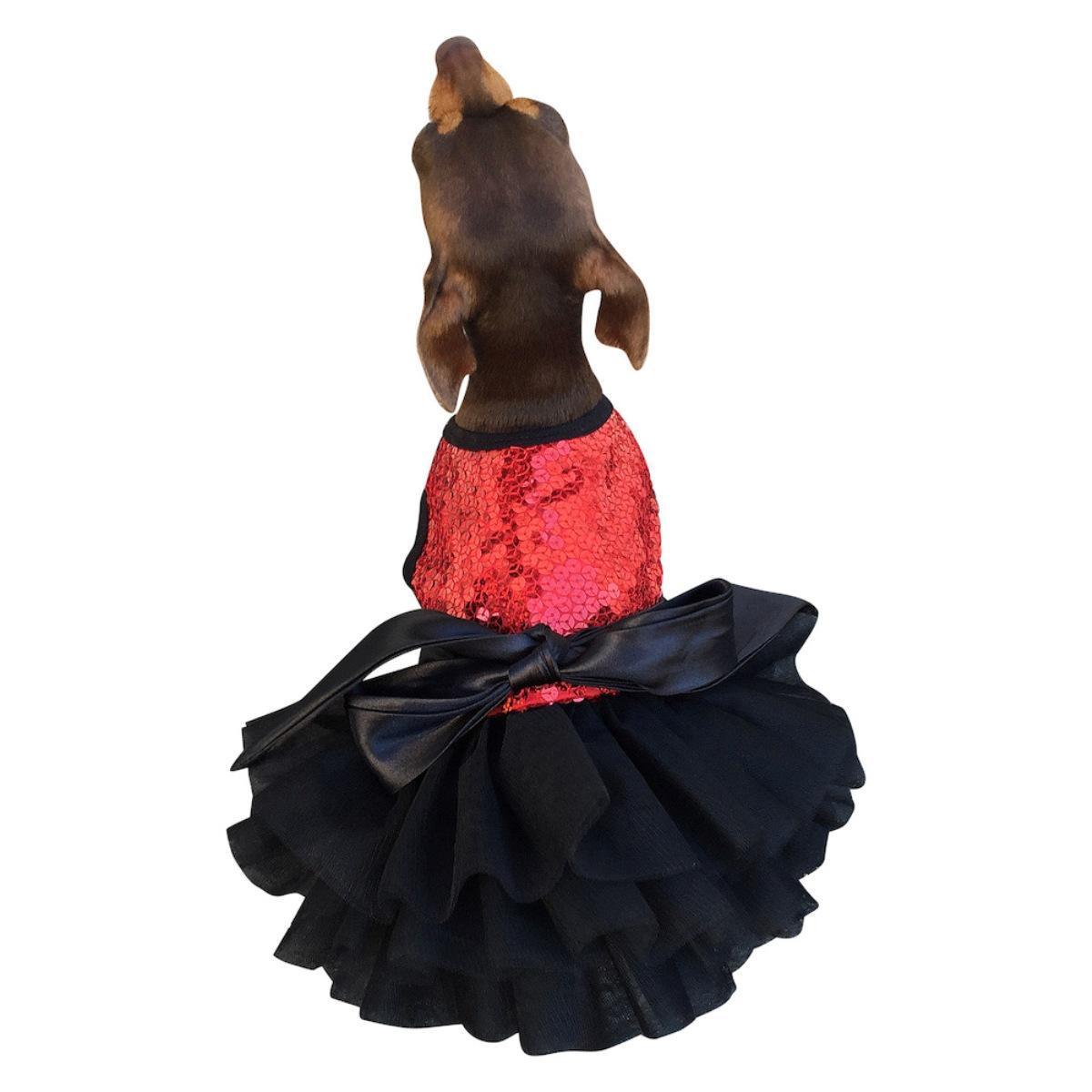 Fufu Tutu Sequin Dog Dress - Red Vixen