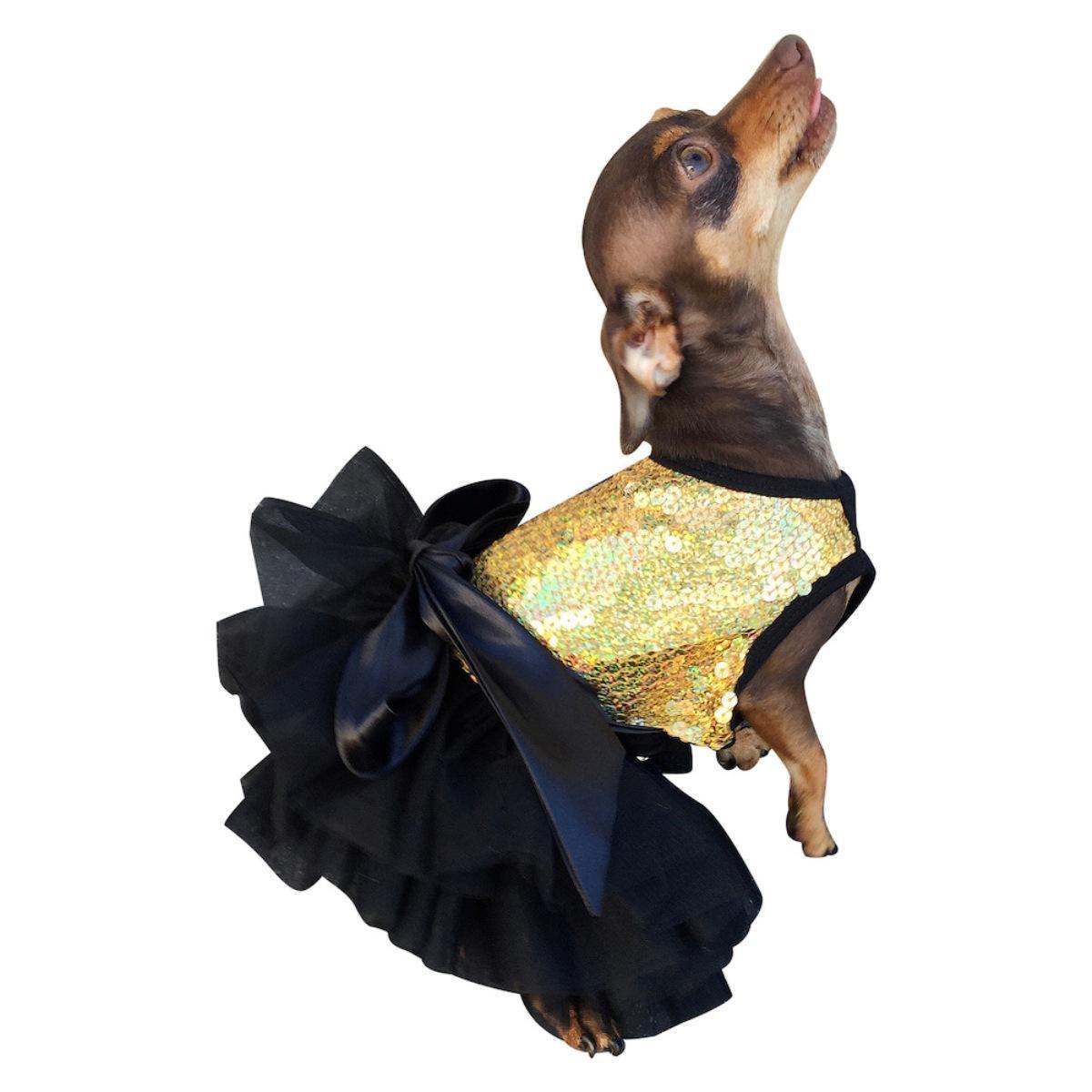Fufu Tutu Sequin Dog Dress - Gold Stardust