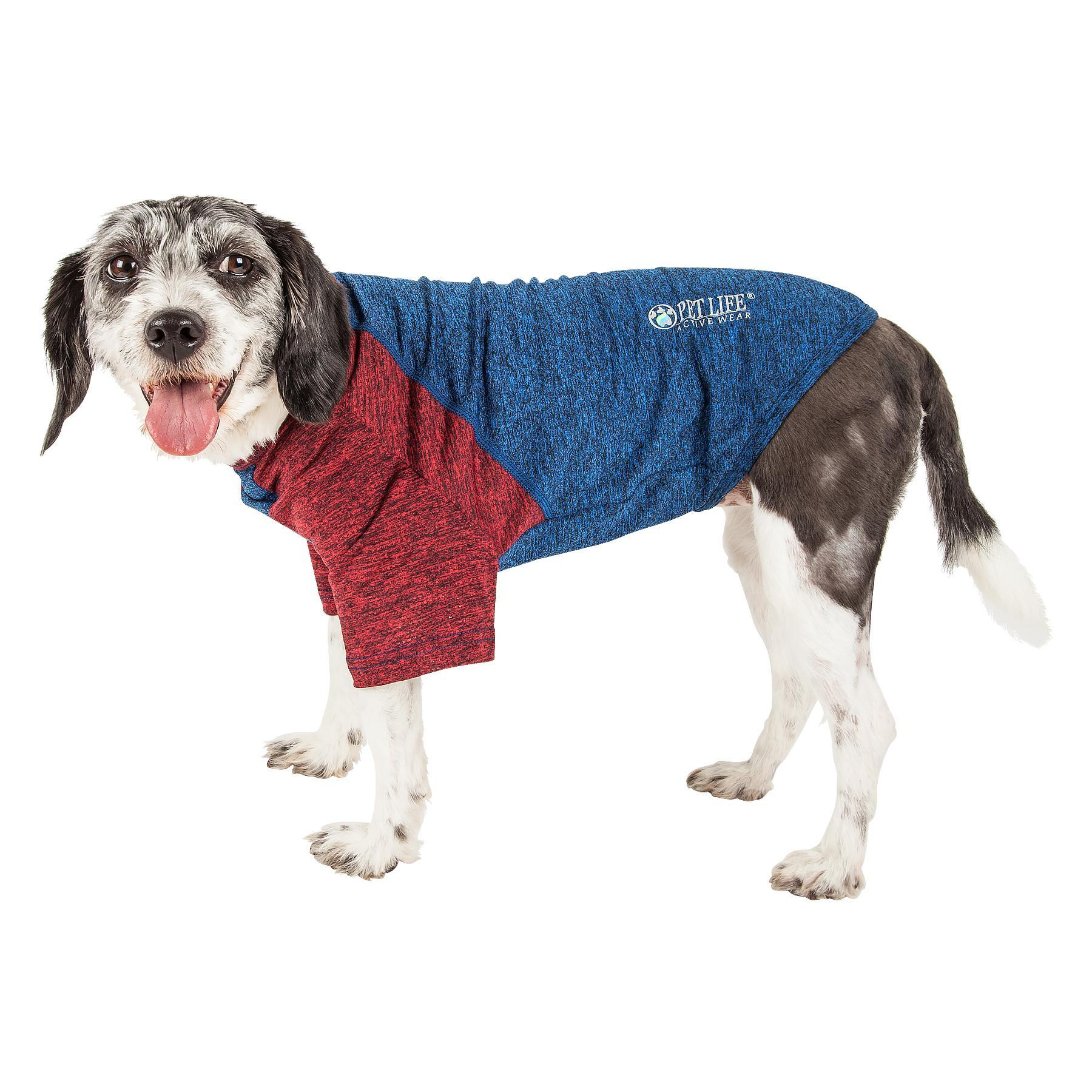 Pet Life ACTIVE 'Hybreed' Two-Toned Performance Dog T-Shirt - Blue and Maroon