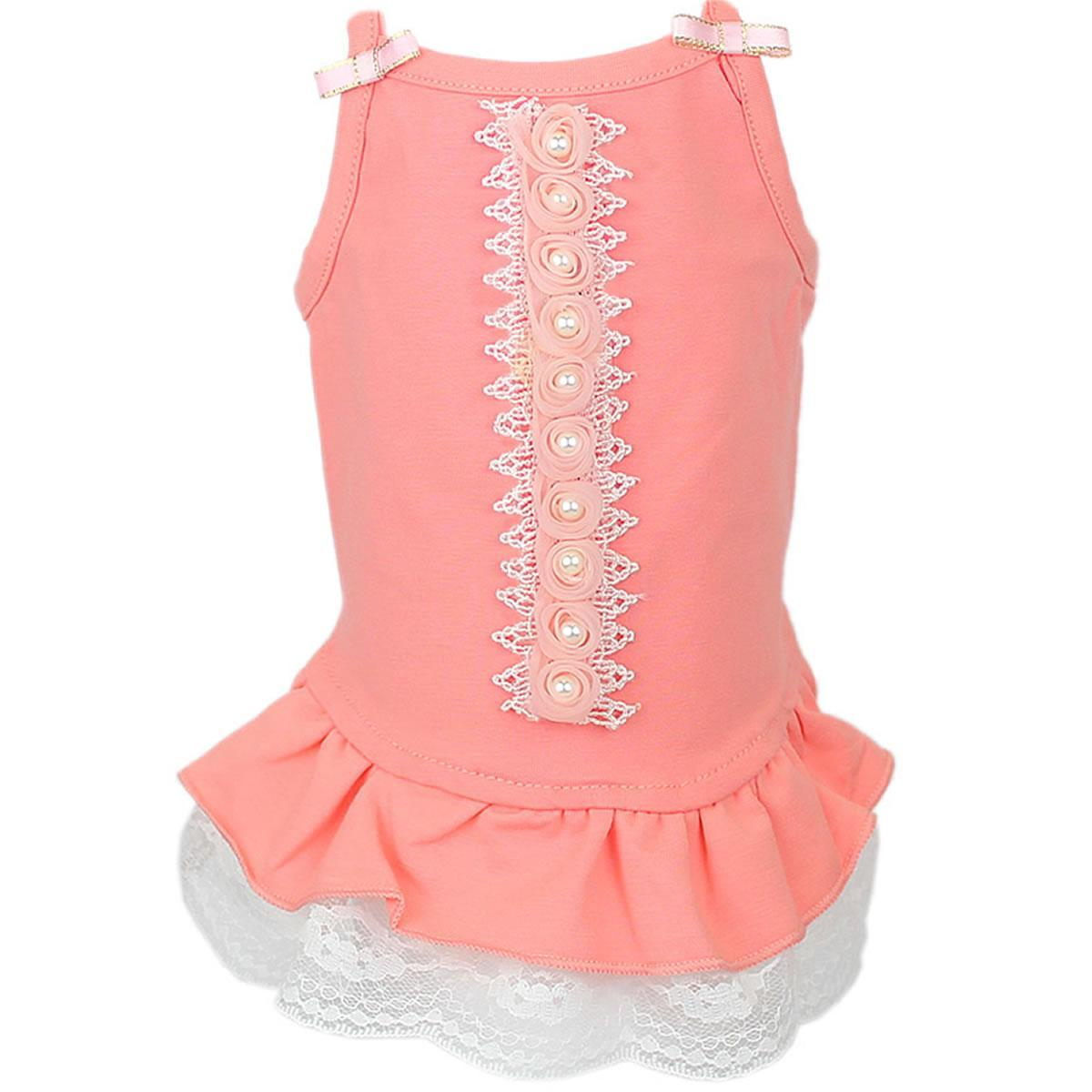 Roses & Pearls Dog Dress by Parisian Pet - Peach