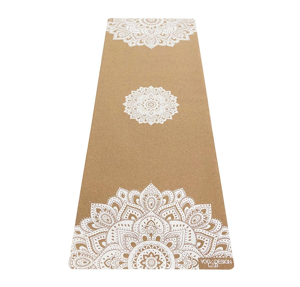 5.5mm Cork Yoga Mat - Mandala White