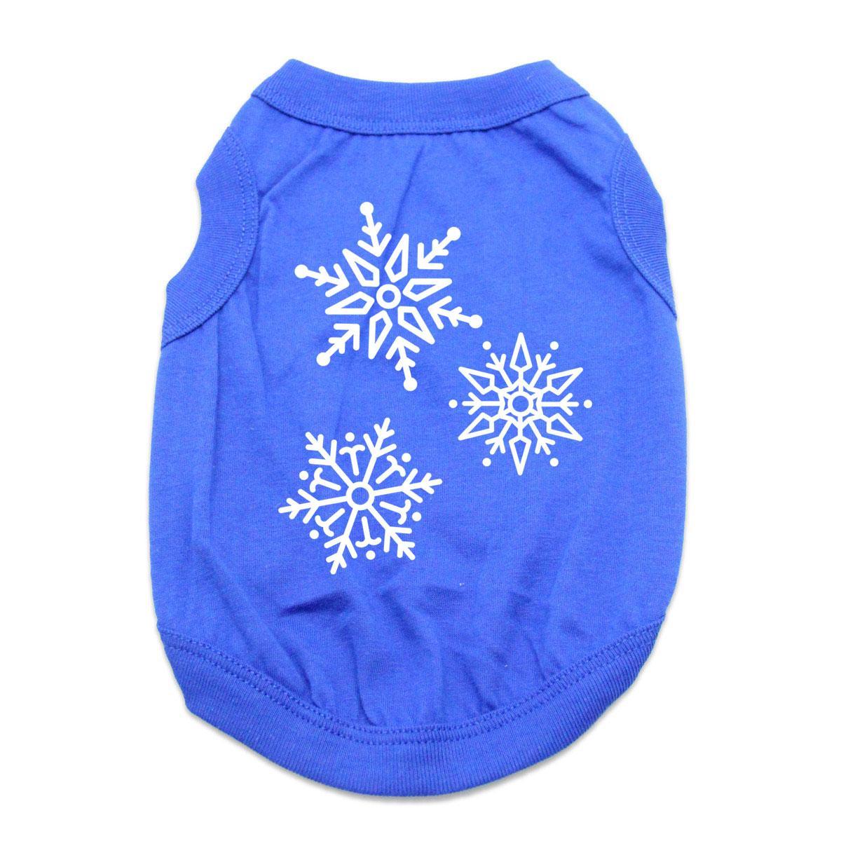 Snowflakes Dog Shirt - Blue