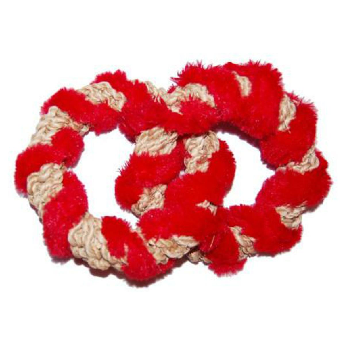 ABACA-DABRA 2 Circle Tug Dog Toy from WaLk-e-Woo - Natural with Red