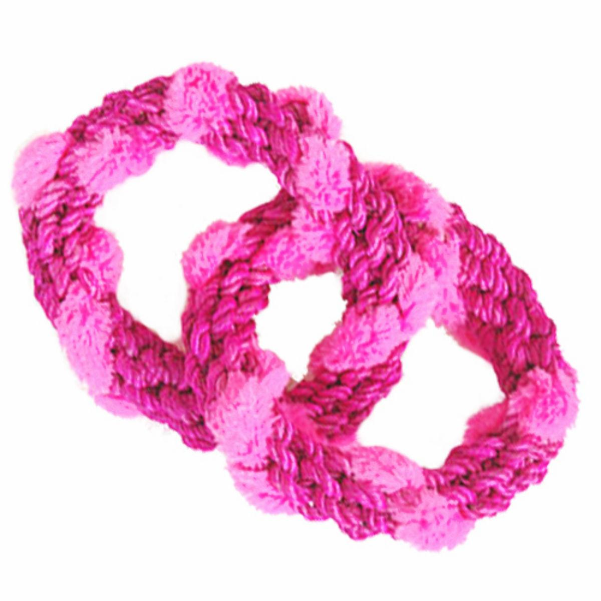 ABACA-DABRA 2 Circle Tug Dog Toy from WaLk-e-Woo - Pink