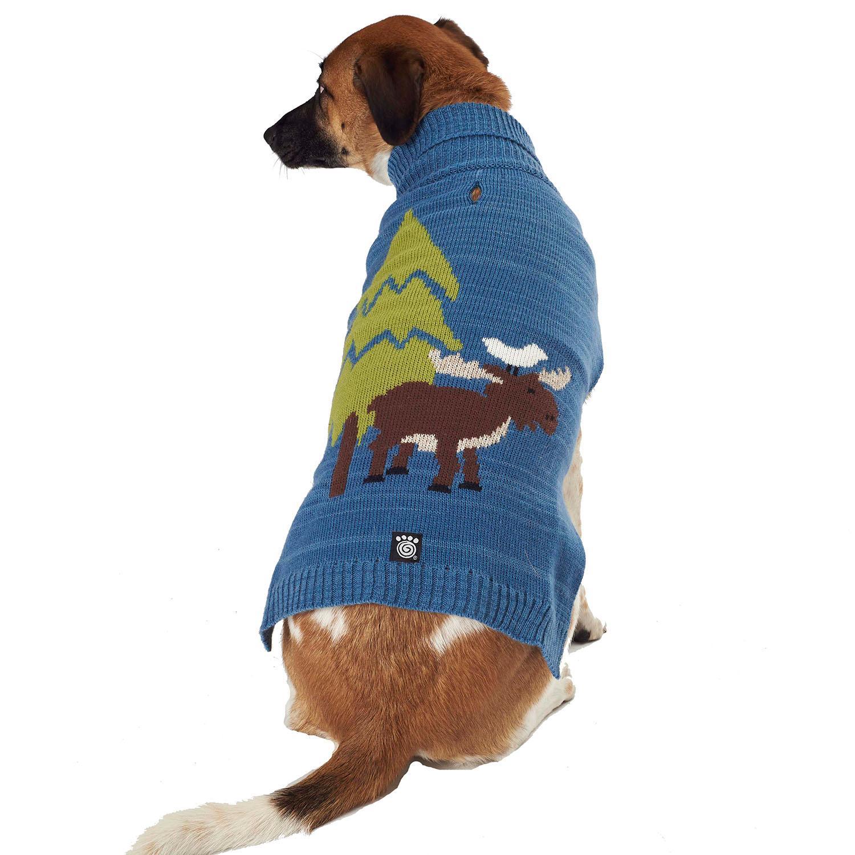 Acadia Moose Dog Sweater - Blue Heather
