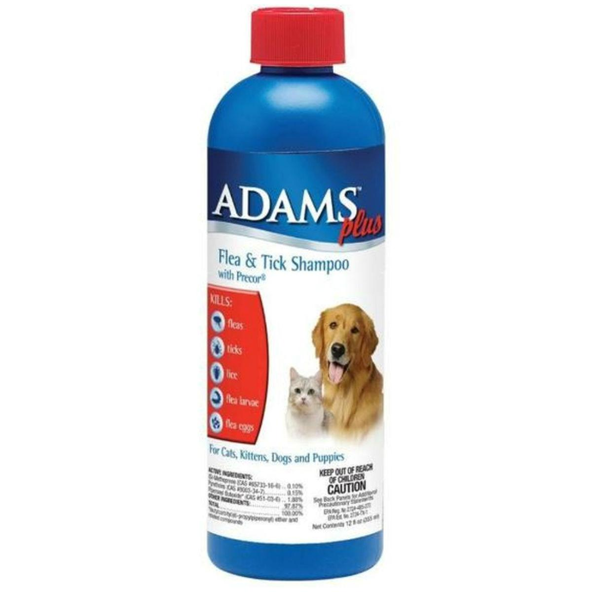 Adams Plus Flea and Tick Dog and Cat Shampoo with Precor