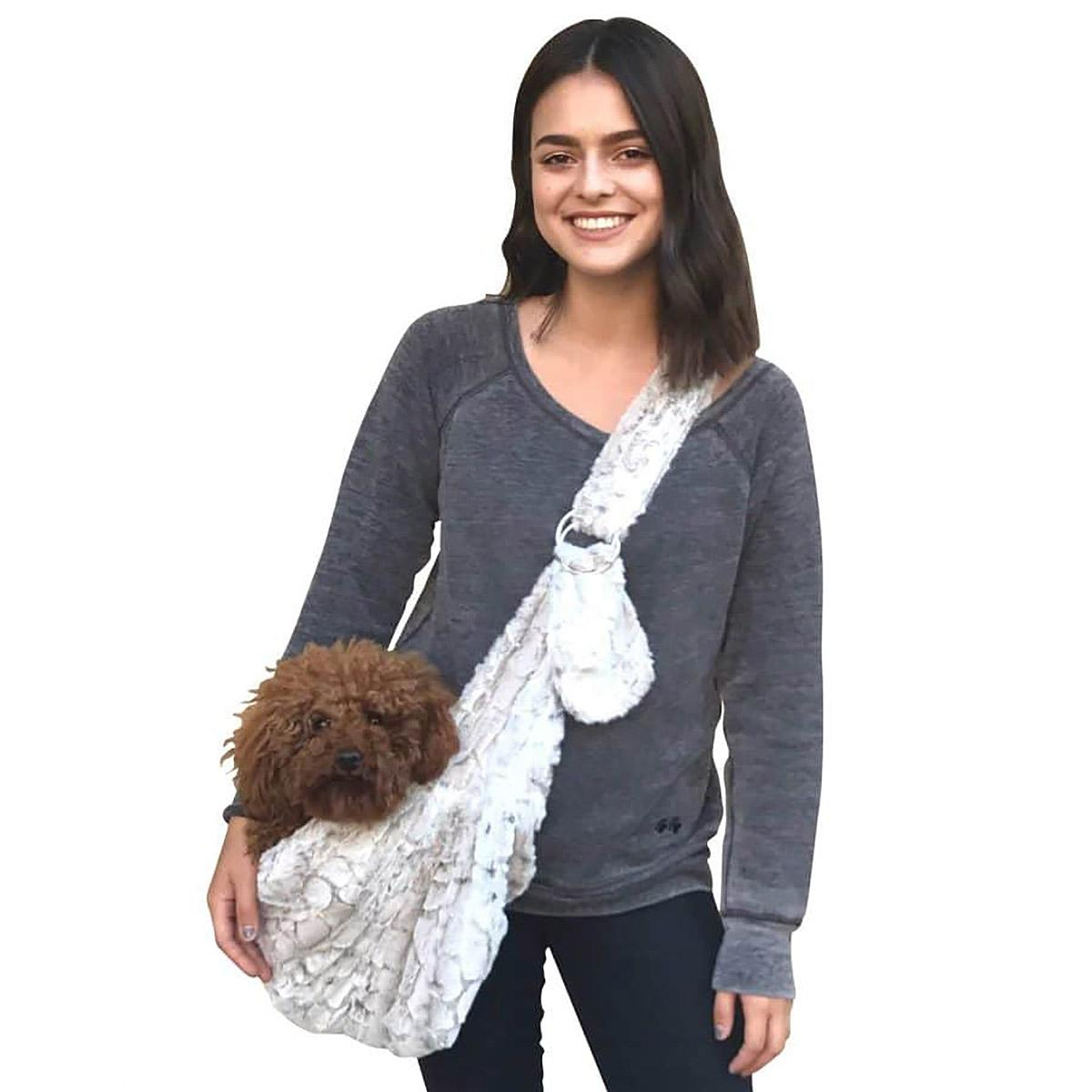 Fur Baby Adjustable Sling Bag Dog Carrier - Frosted Snow Leopard