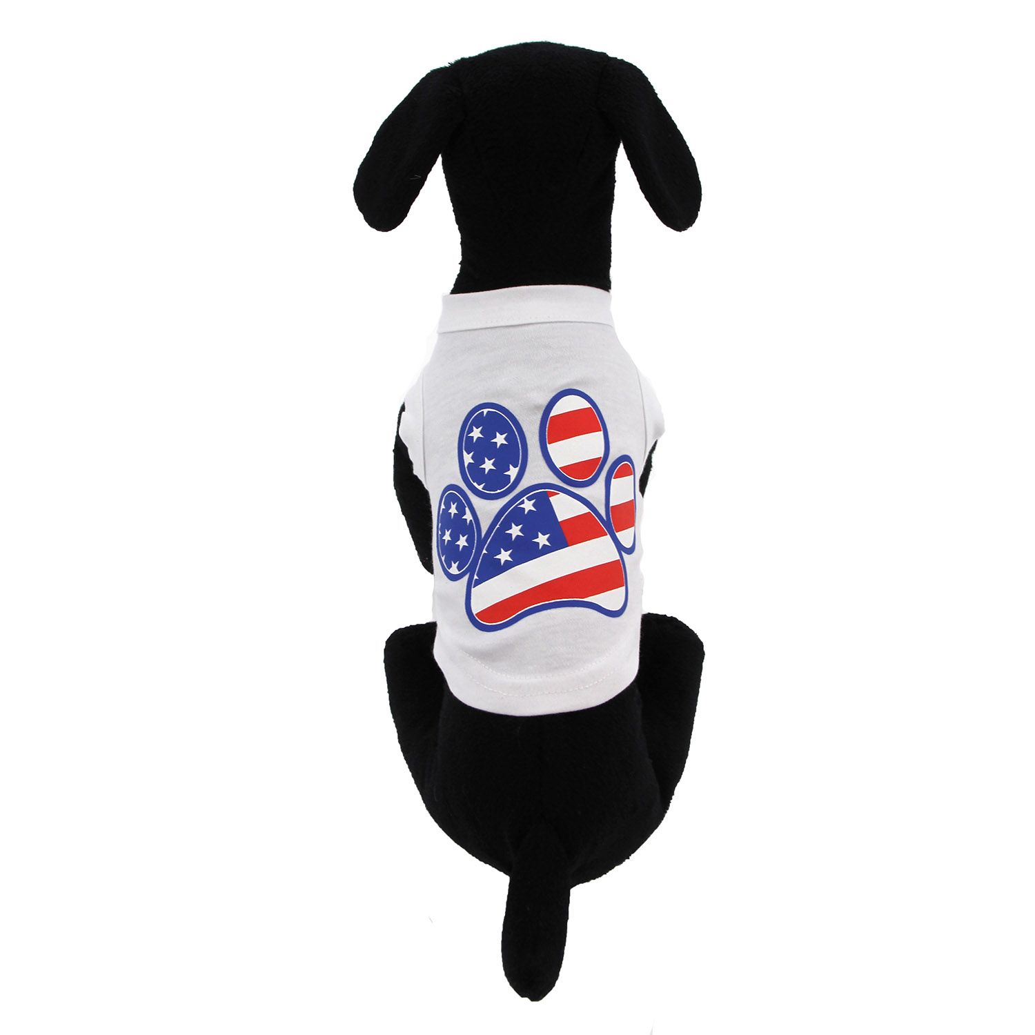 962774ab American Flag Dog Paw Print Tank Top - White | BaxterBoo