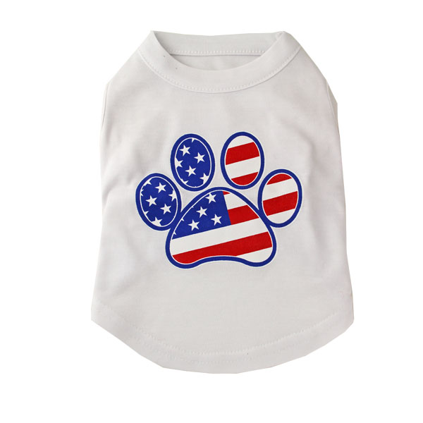 American Flag Dog Paw Print Tank Top - White