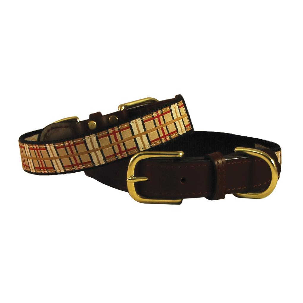 American Traditions Leather and Ribbon Dog Collar - Up Country Plaid