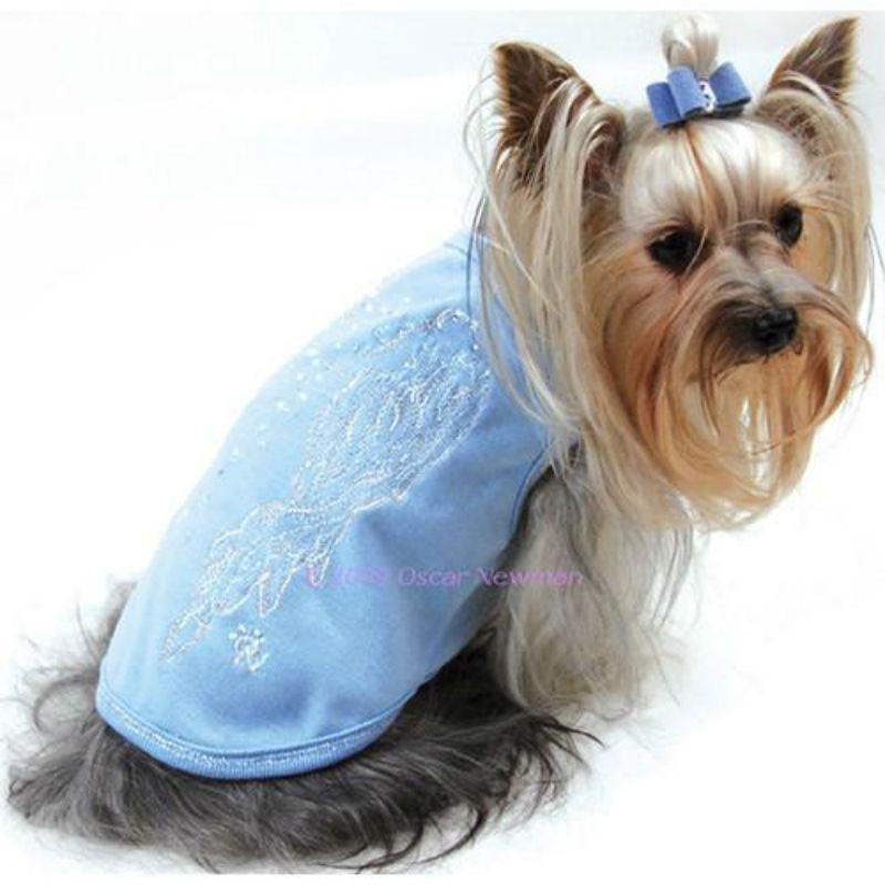 Angel Wings Dog T-Shirt By Oscar Newman - Blue