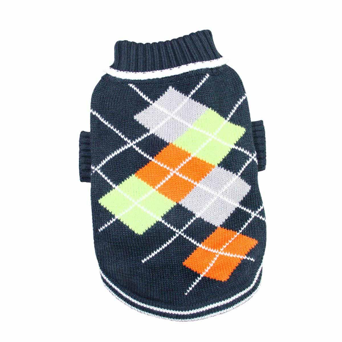 Argyle Pattern Turtleneck Dog Sweater from Klippo - Navy