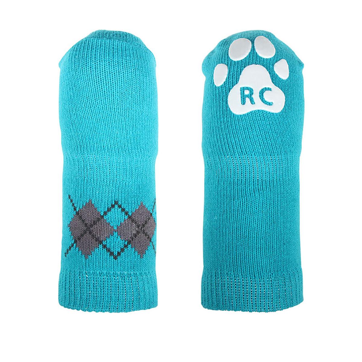 Argyle PAWKS Dog Socks - Aqua