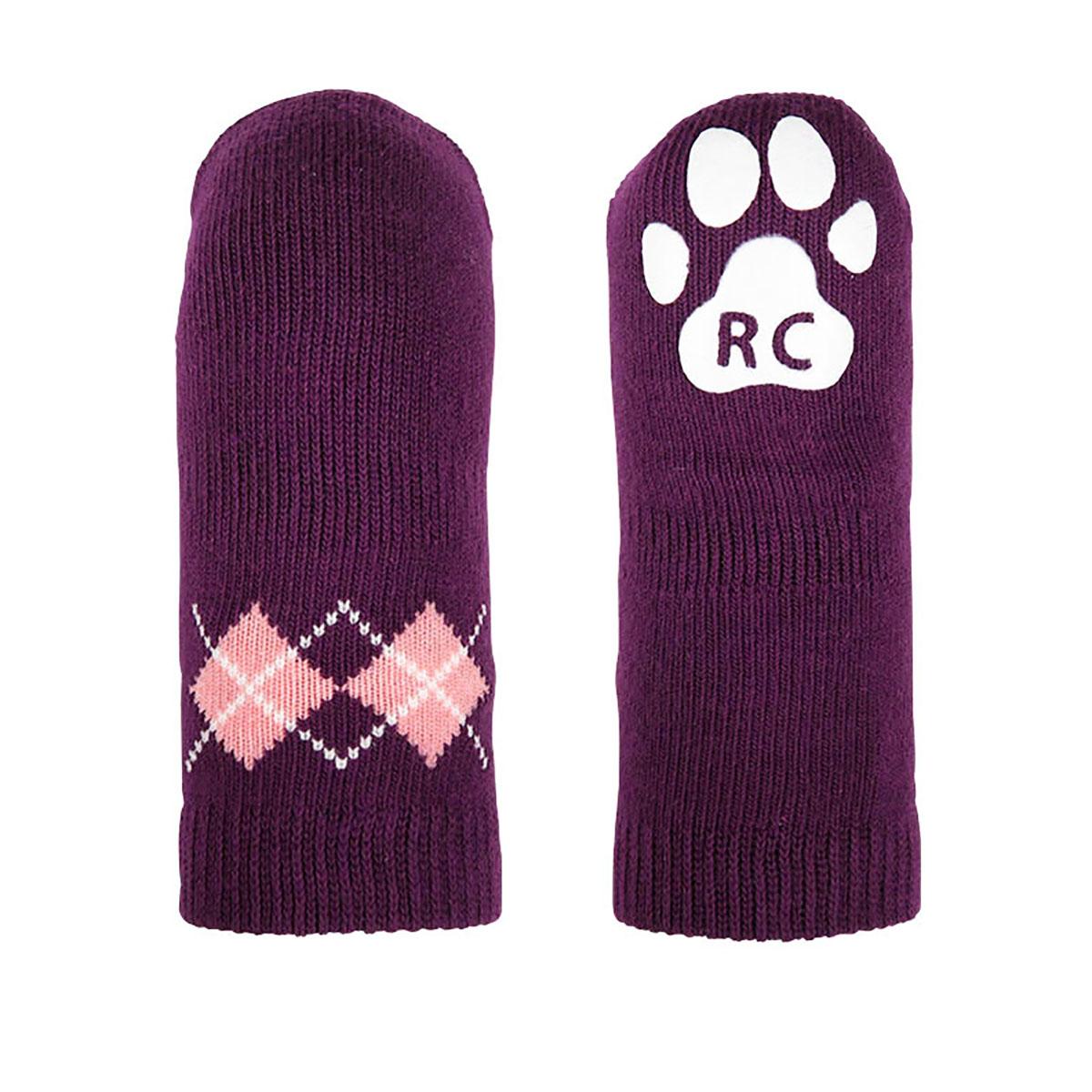Argyle PAWKS Dog Socks - Grape