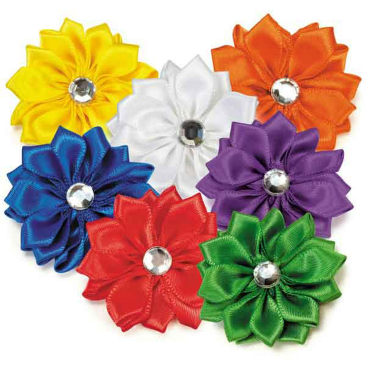 Aria Rhinestone Rainbow Dog Bows - Flower Buds