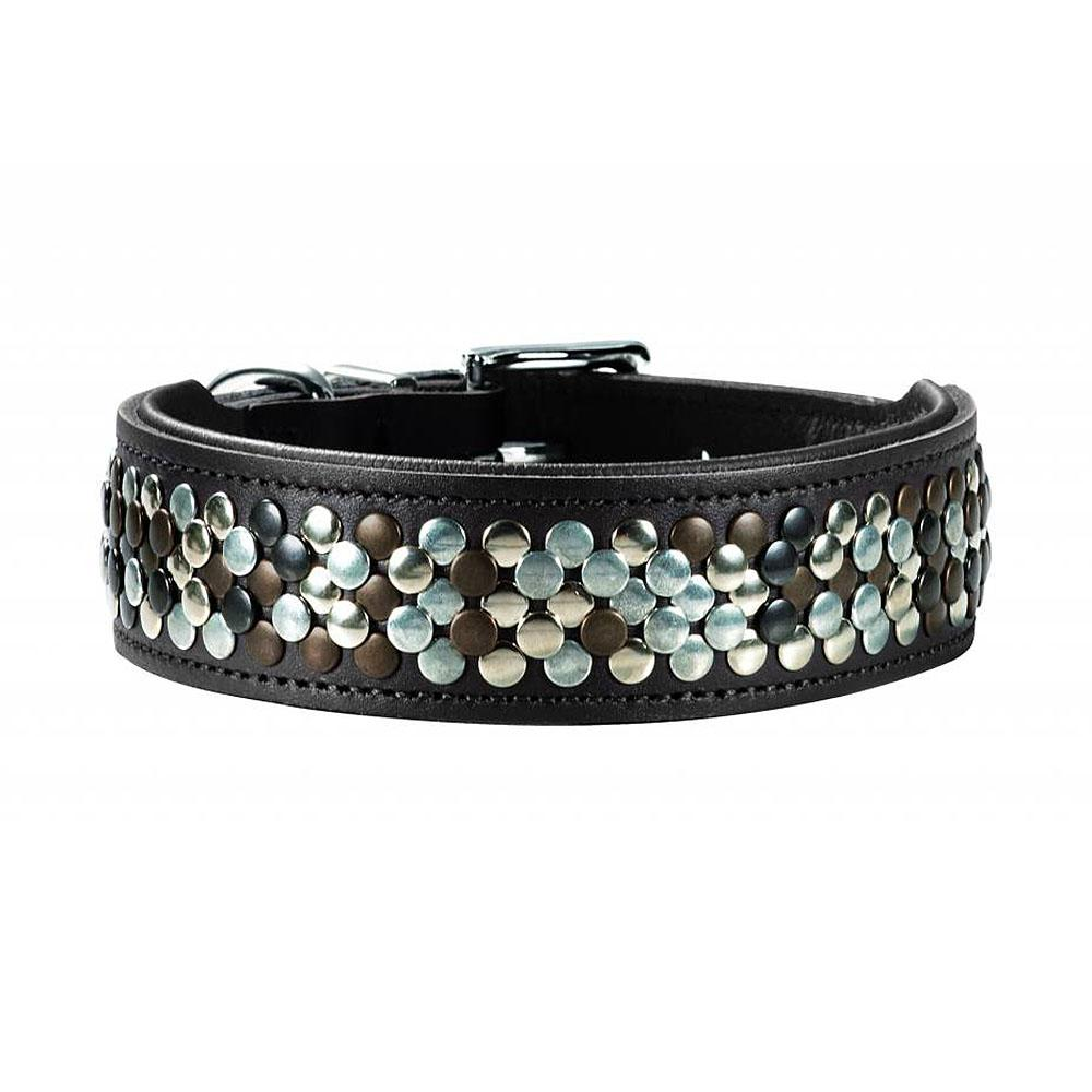 Arizona Studded Leather Dog Collar by HUNTER - Black