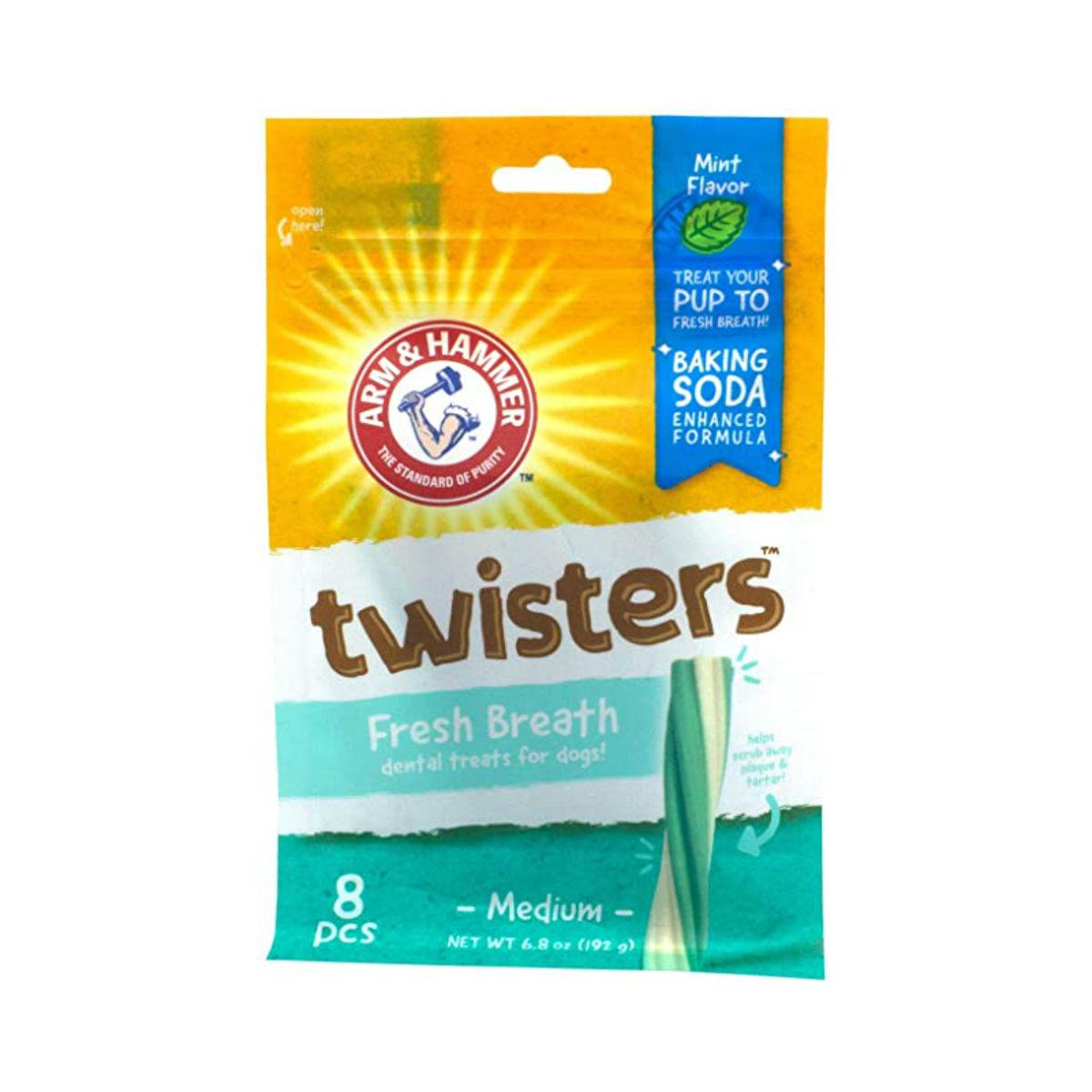 Arm & Hammer Twisters Fresh Breath Dental Dog Treats - Mint