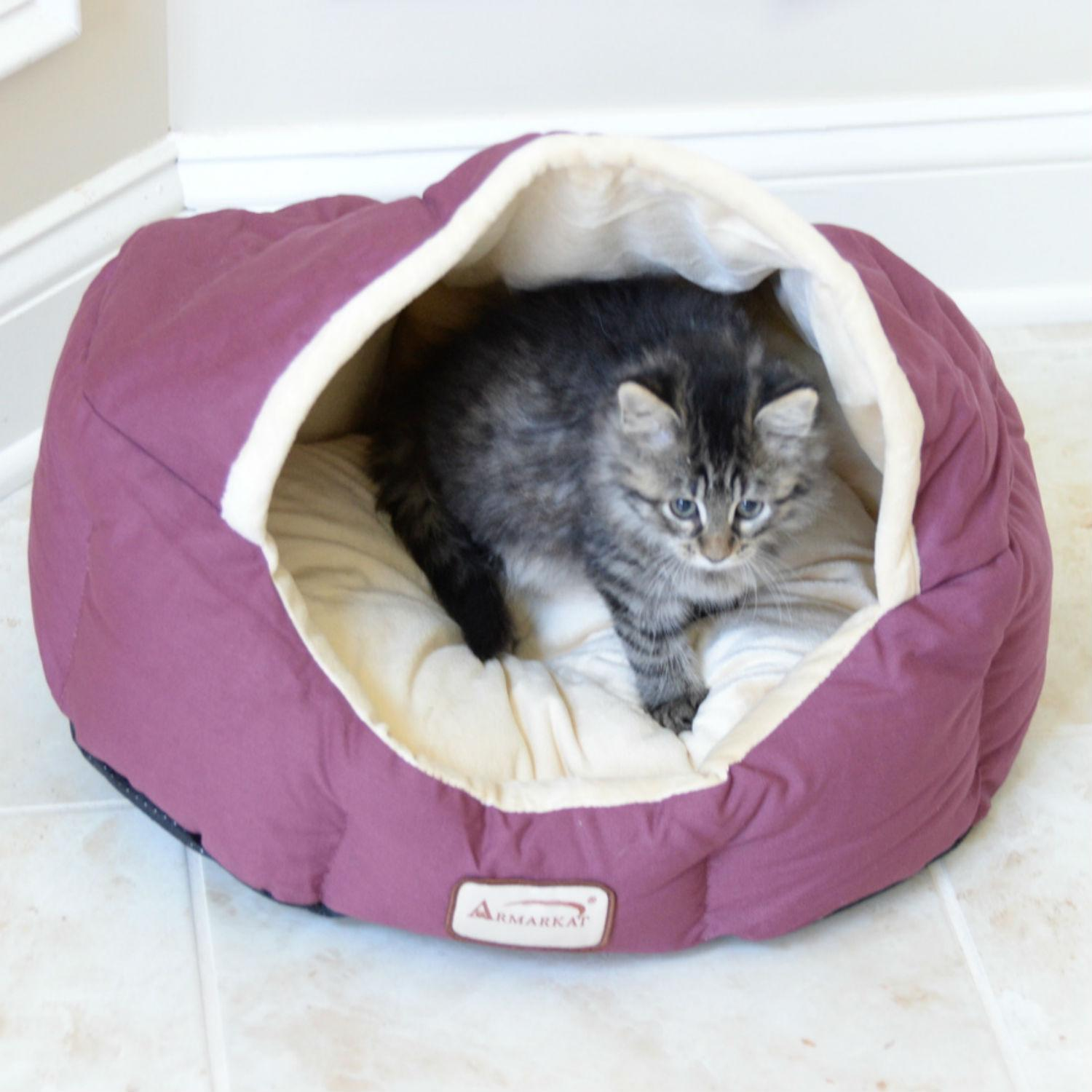 Armarkat Burrow Pet Bed - Burgundy/Ivory