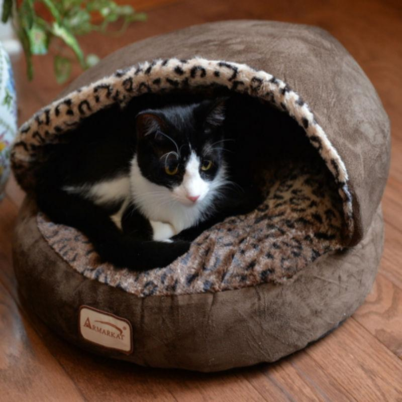 Armarkat Burrow Pet Bed - Mocha/Leopard