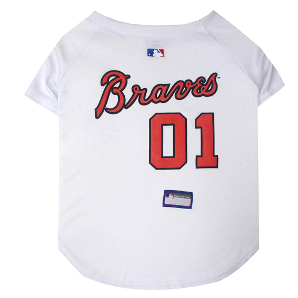 Atlanta Braves Officially Licensed Dog Jersey - White