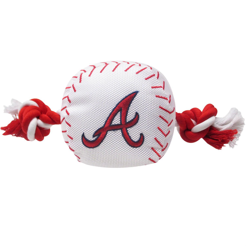 Atlanta Braves Nylon Plush Baseball Rope Dog Toy