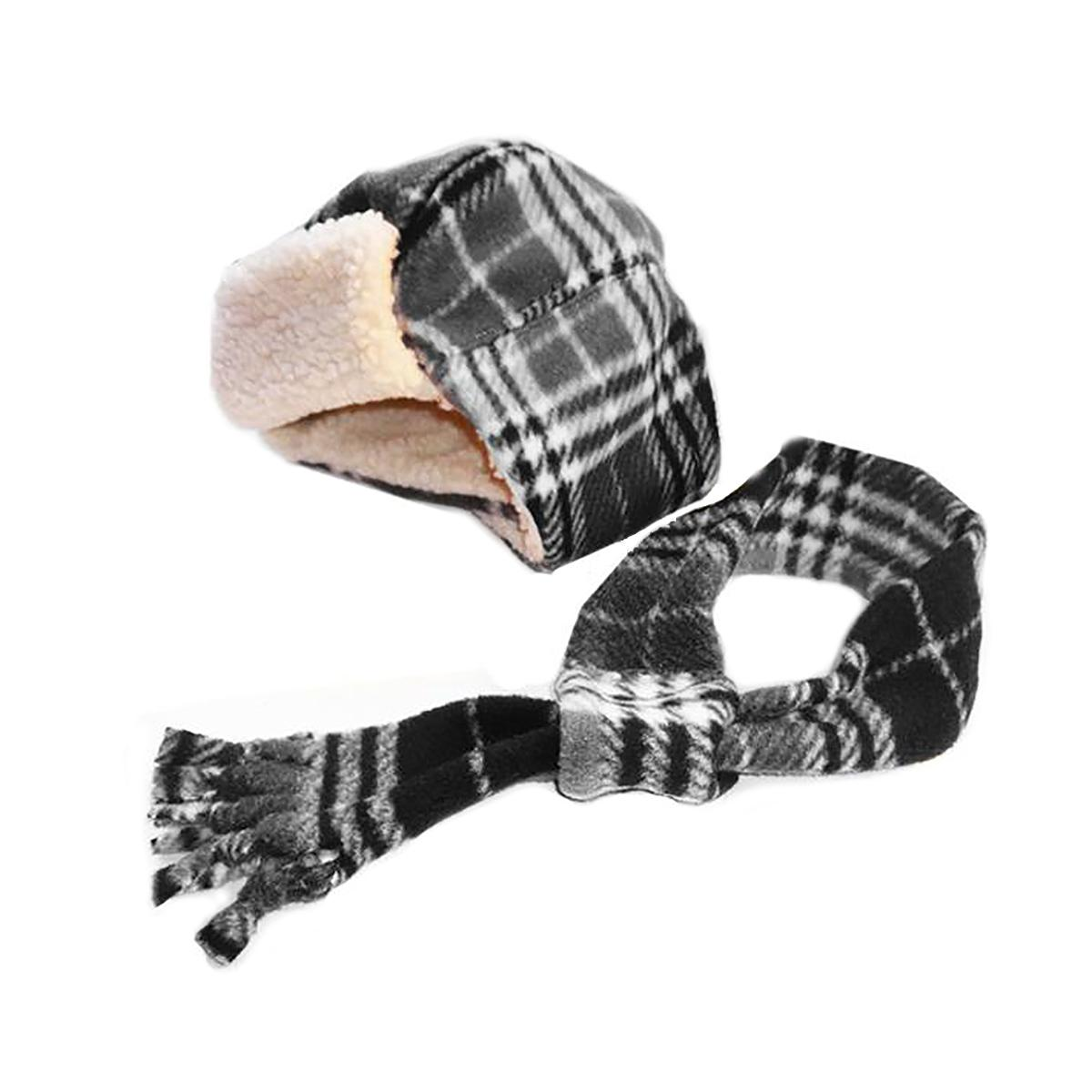 My Canine Kids Aviator Hat and Scarf Set for Dogs - Black Plaid