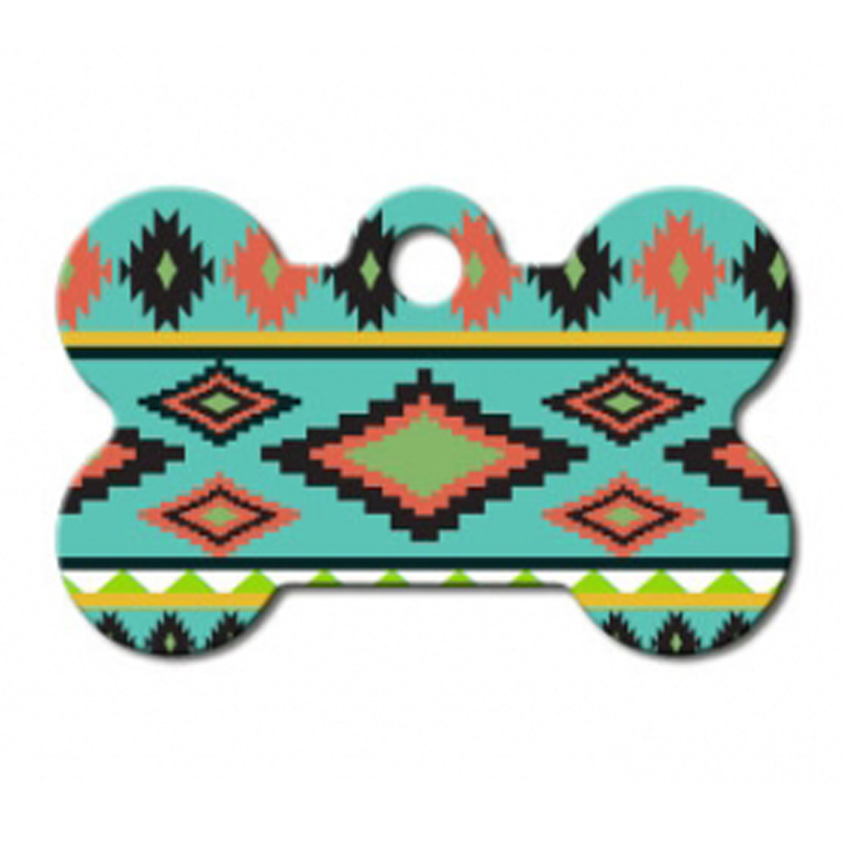 Aztec Bone Small Engravable Pet I.D. Tag - Multi-colored