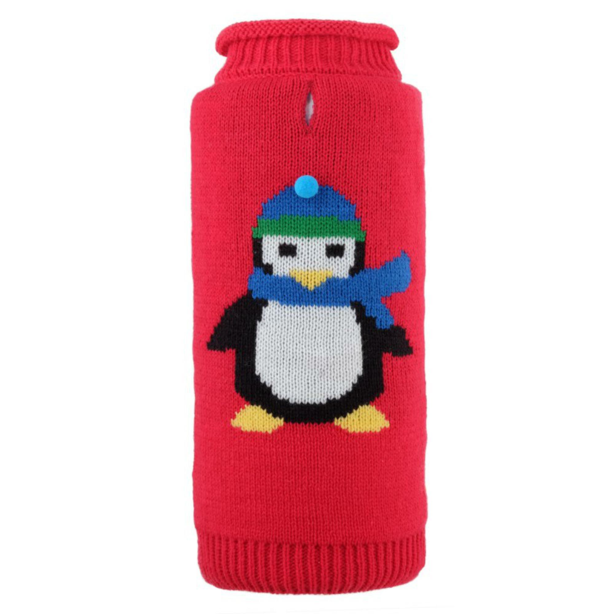 Worthy Dog Petey The Penguin Dog Sweater - Red