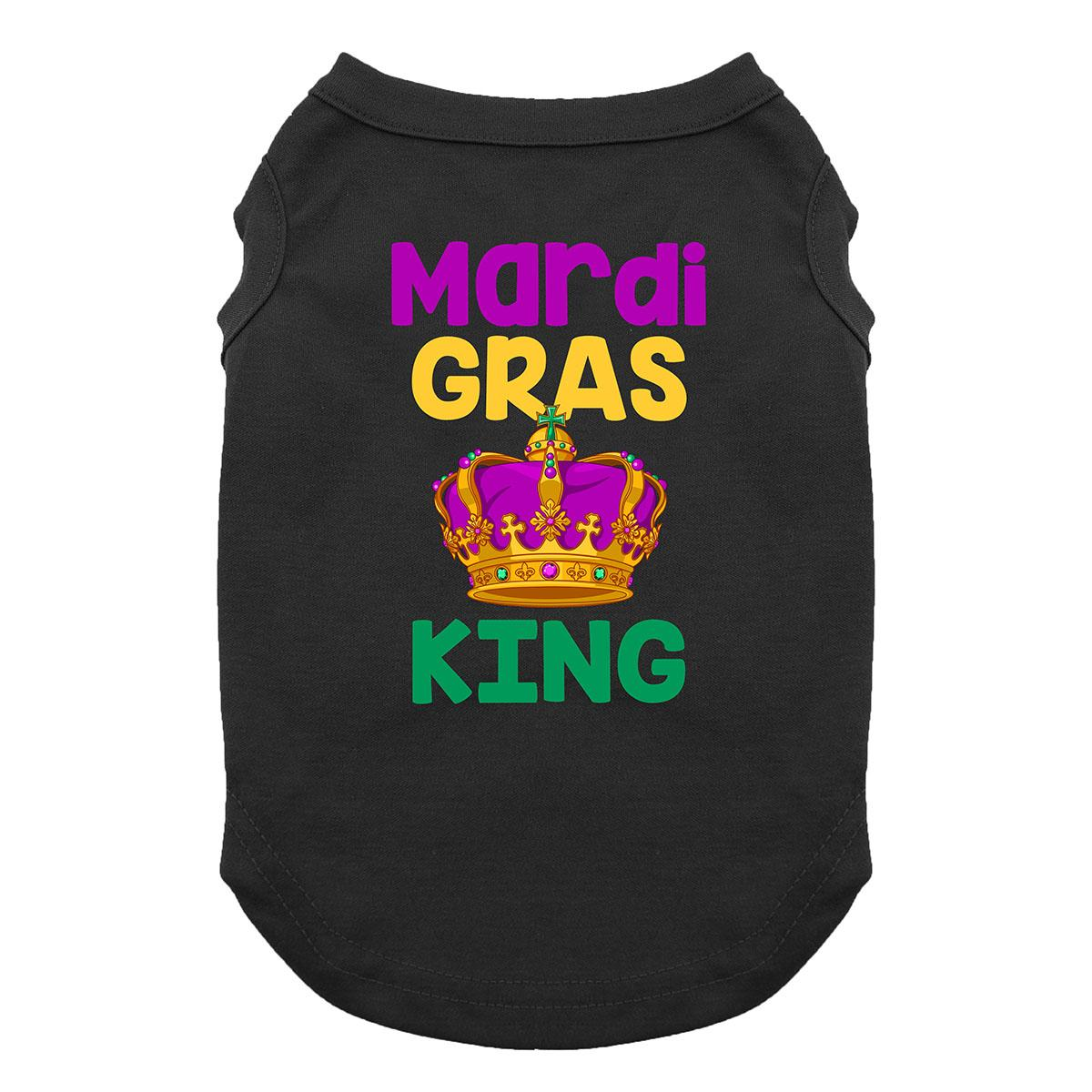 Mardi Gras King Dog Shirt - Black