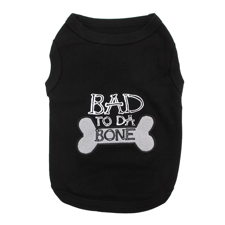 Bad to Da Bone Dog Tank by Parisian Pet - Black