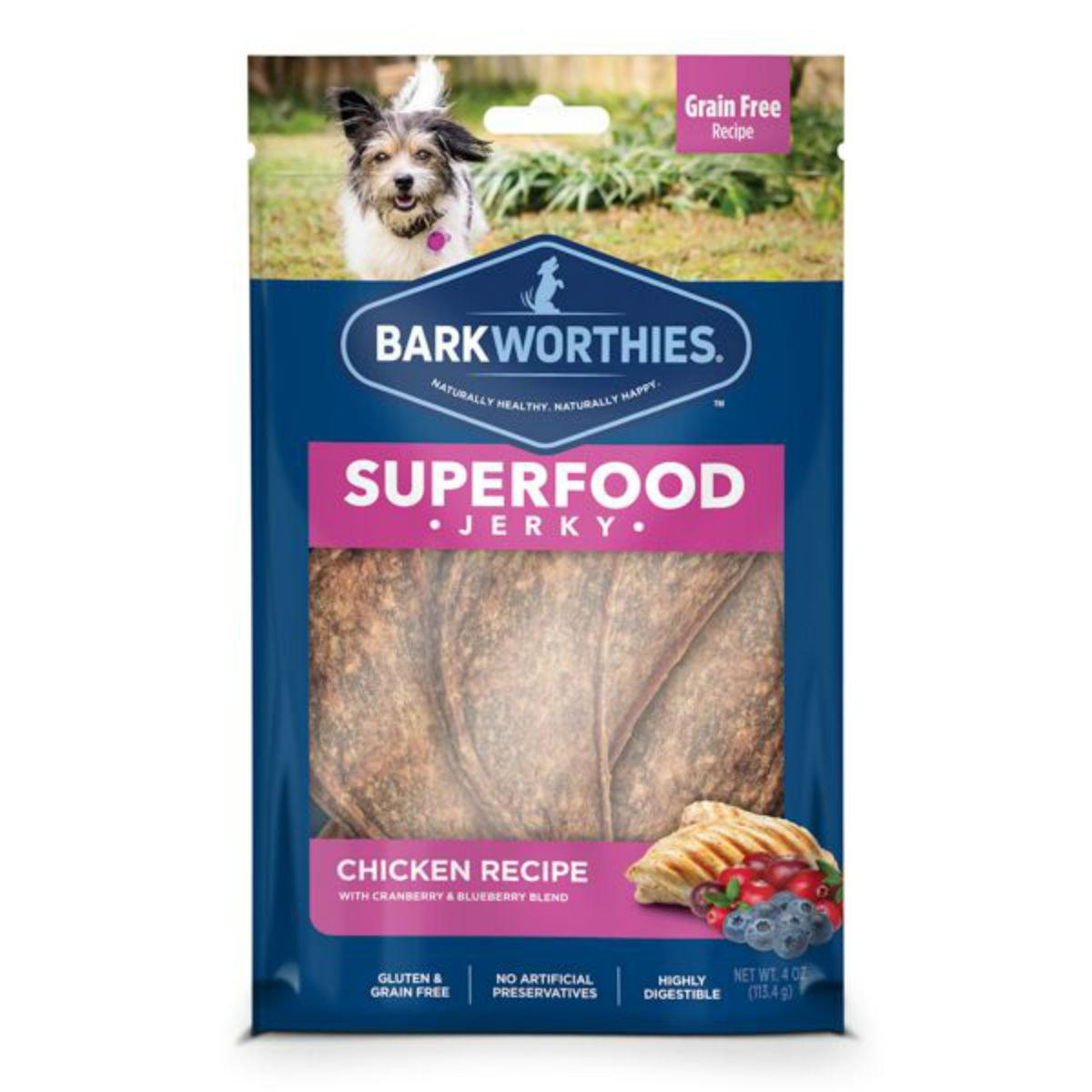 Barkworthies Chicken Jerky Dog Treats - Blueberry and Cranberries