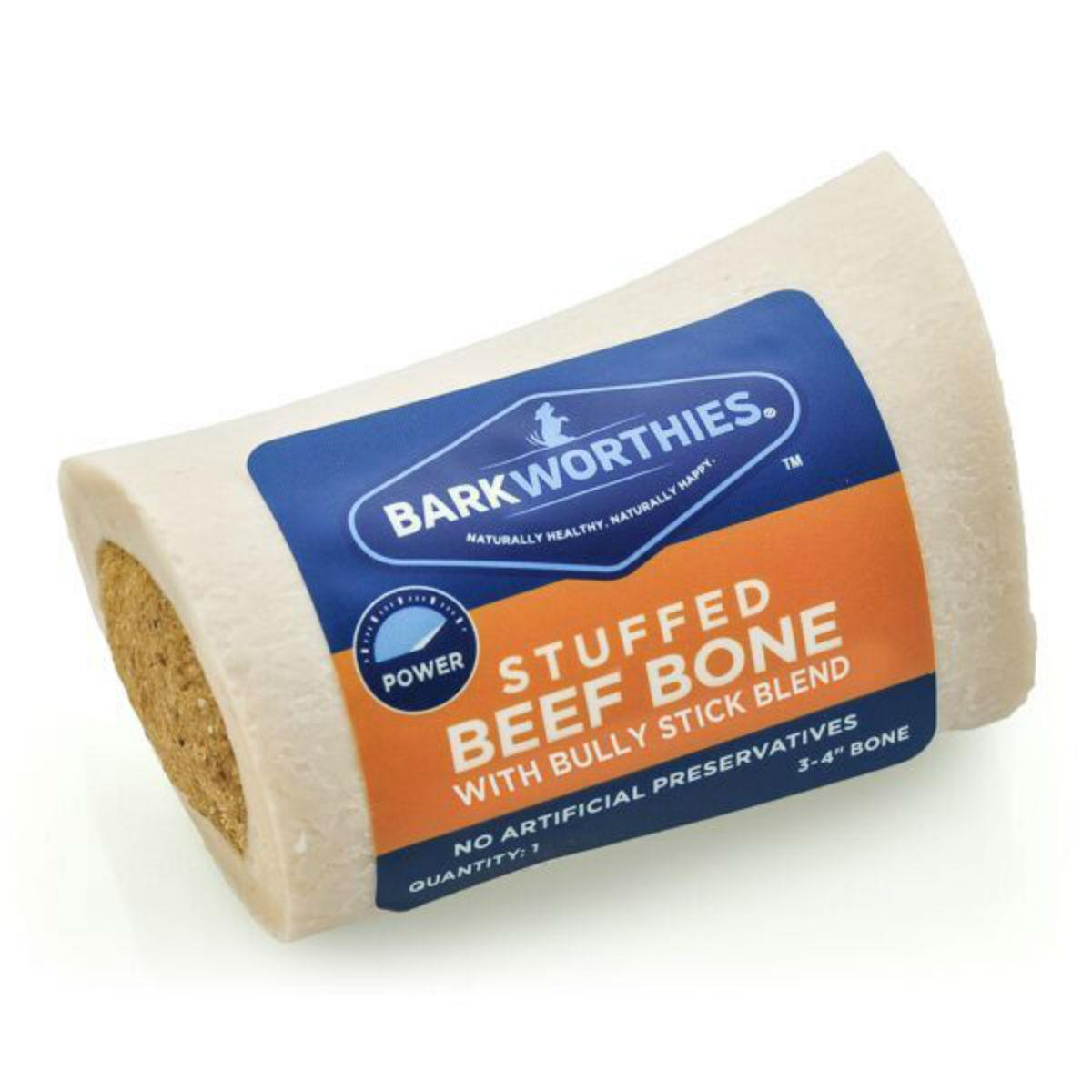 Barkworthies Stuffed Beef Shin Bone Dog Treat - Bully Stick Blend