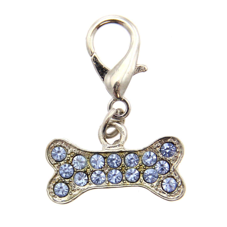 Basic Bone D-Ring Pet Collar Charm by foufou Dog - Blue