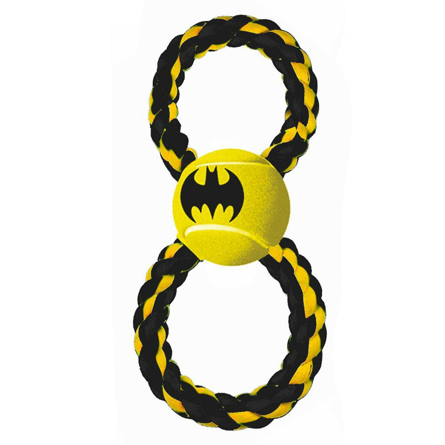 Batman Rope Tennis Ball Dog Toy by Buckle-Down - Black/Yellow