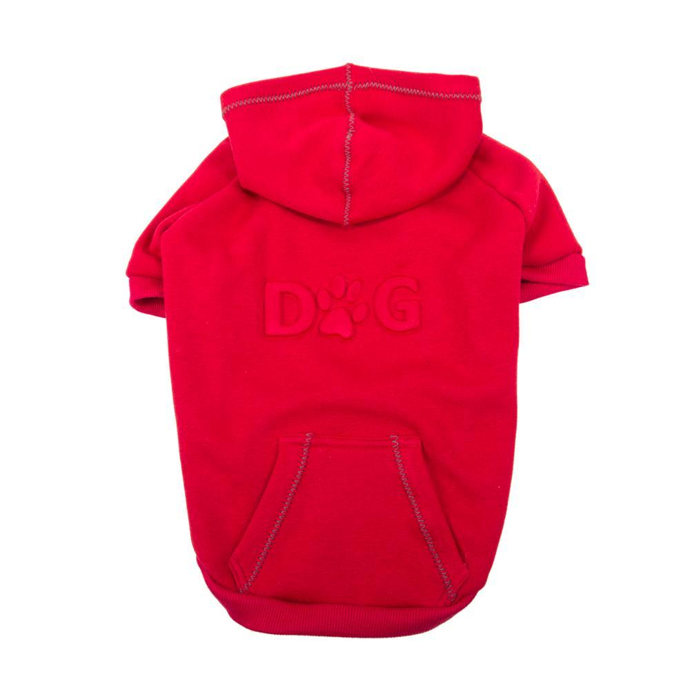 DOG Embossed Dog Hoodie Red