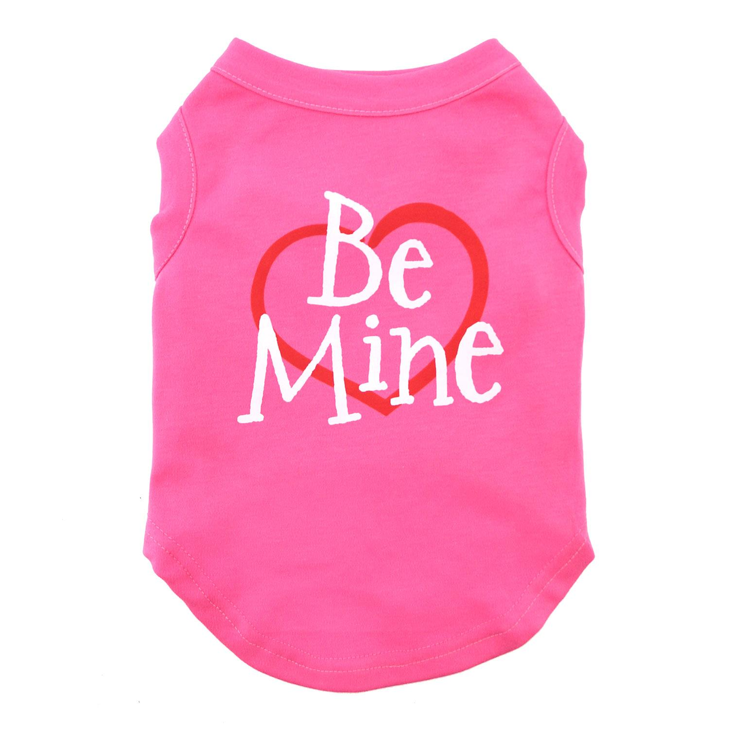 Be Mine Screen Print Dog Tank - Bright Pink