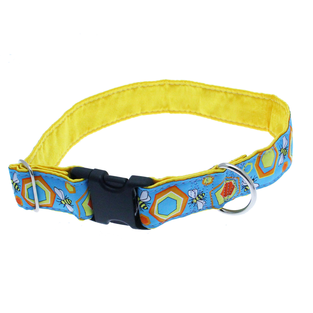 Bees Wide Satin Lined Dog Collar