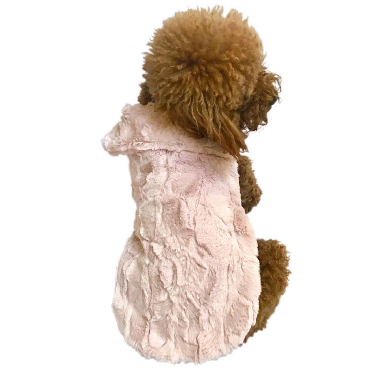 Bella Luxury Faux Fur Dog Coat - Blush