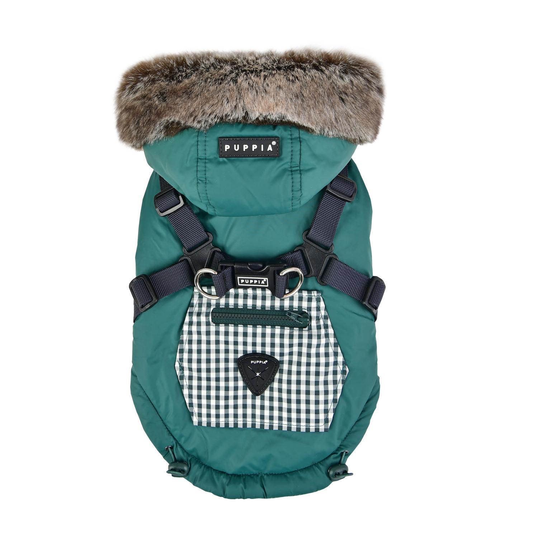 Bellamy Hooded Dog Vest by Puppia - Hunter Green/Khaki