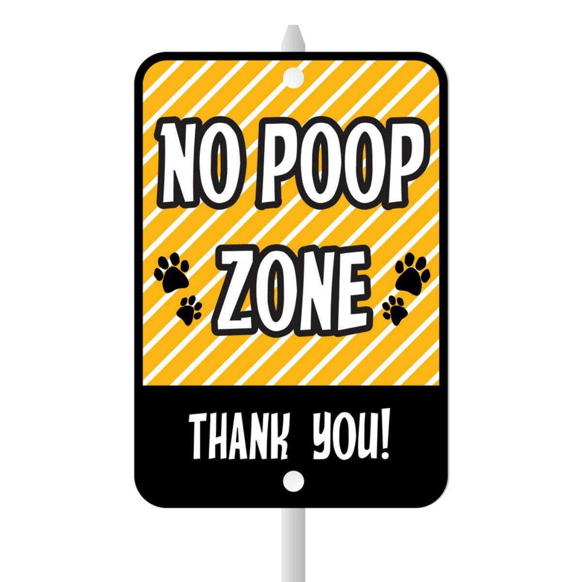 No Poop Zone Mini Garden Sign