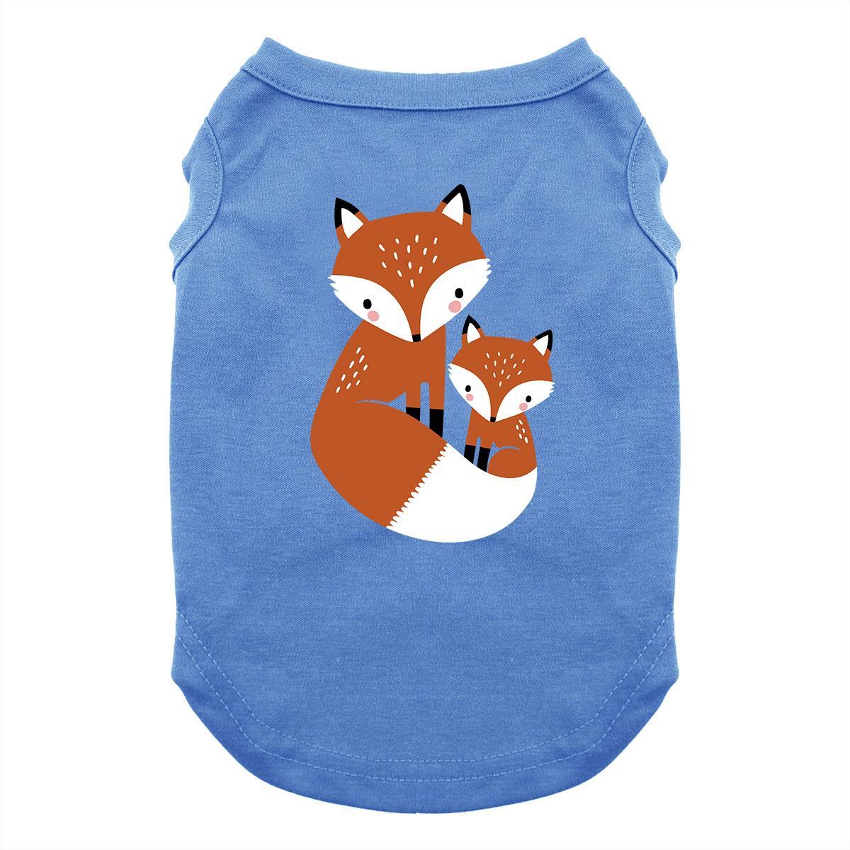 Cuddling Foxes Dog Shirt - Blue