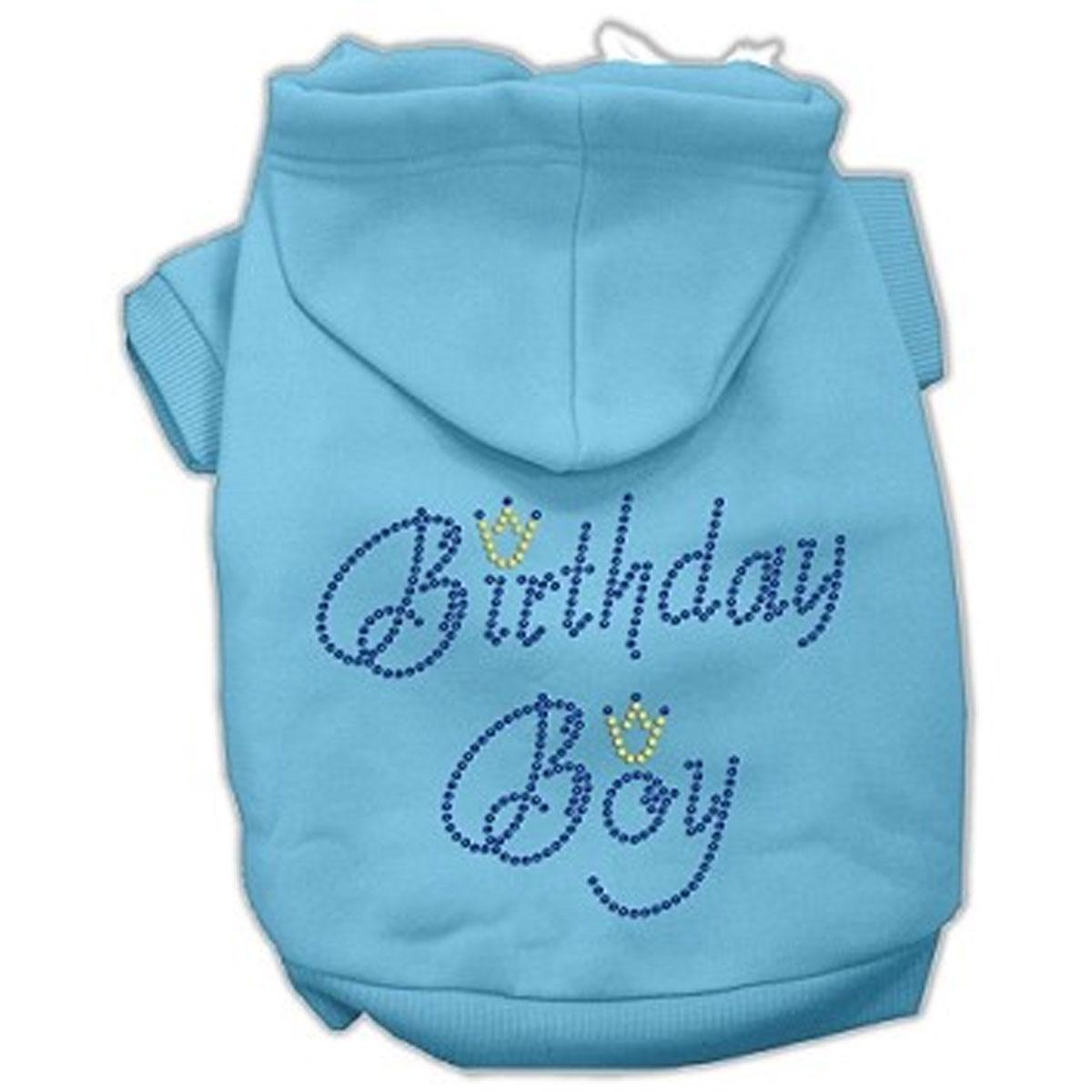 Birthday Boy Rhinestone Dog Hoodie - Baby Blue